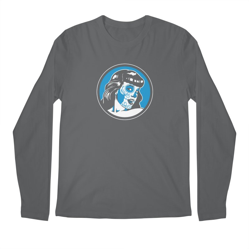 Bettie Sugar Skull Blue Men's Regular Longsleeve T-Shirt by bennygraphix's Artist Shop