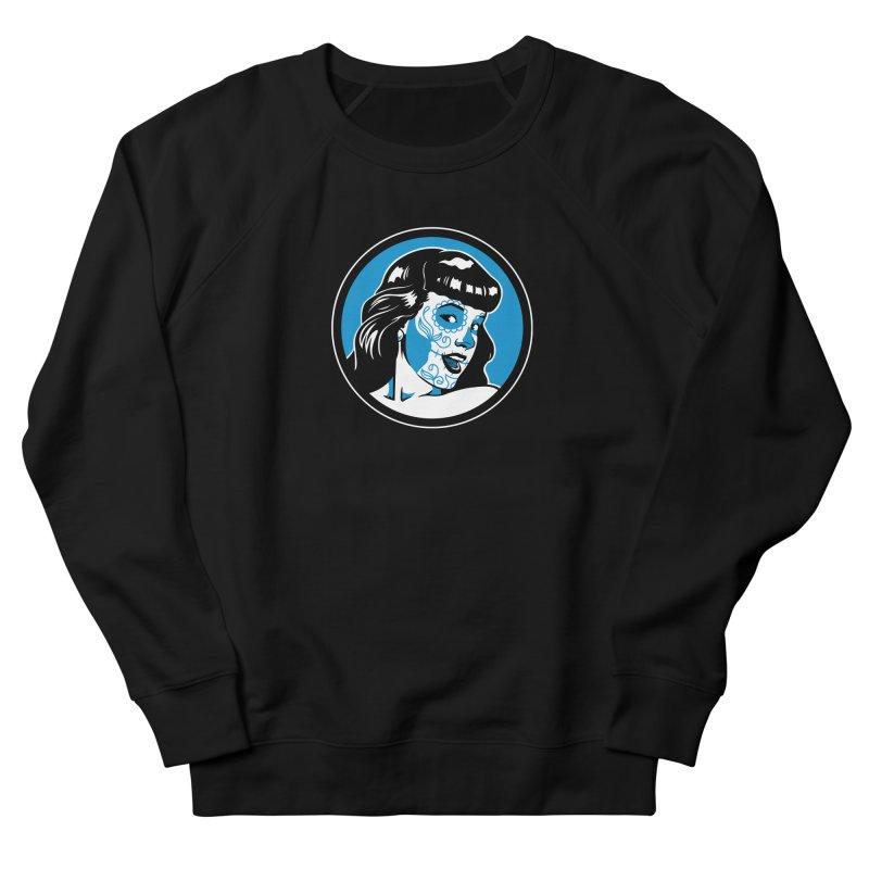 Bettie Sugar Skull Blue Men's French Terry Sweatshirt by bennygraphix's Artist Shop