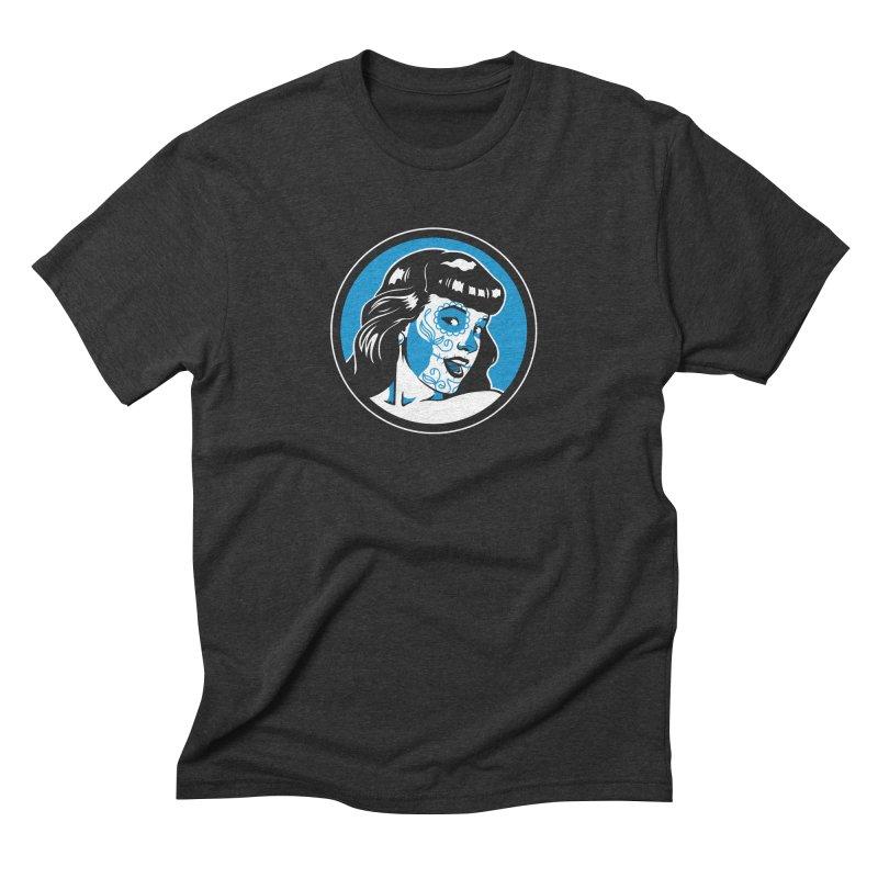 Bettie Sugar Skull Blue Men's Triblend T-Shirt by bennygraphix's Artist Shop