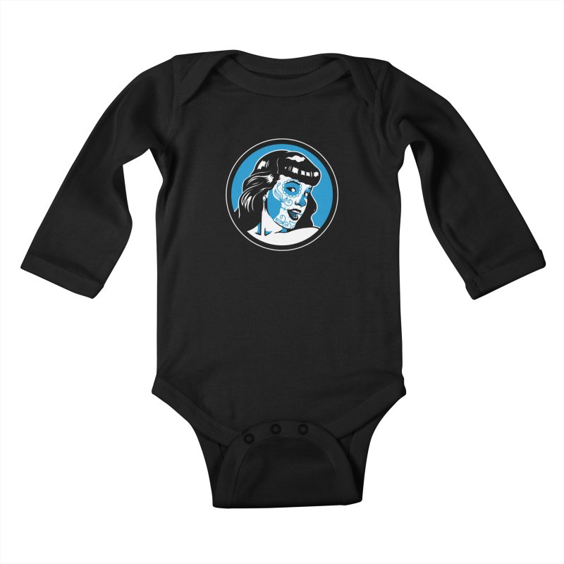 Bettie Sugar Skull Blue Kids Baby Longsleeve Bodysuit by bennygraphix's Artist Shop
