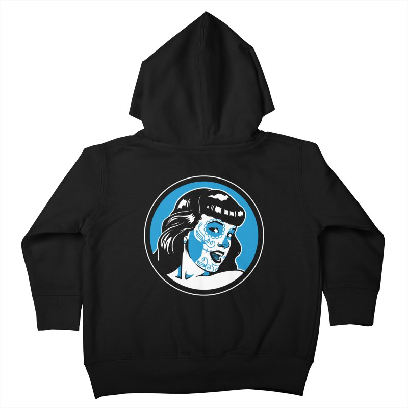 Bettie Sugar Skull Blue Kids Toddler Zip-Up Hoody by bennygraphix's Artist Shop