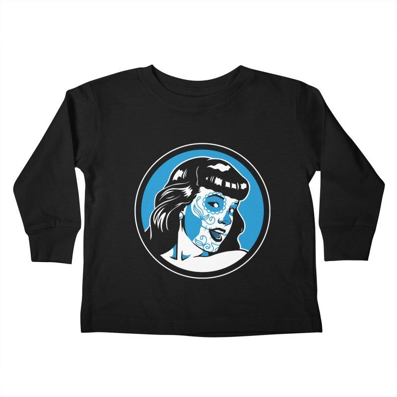 Bettie Sugar Skull Blue Kids Toddler Longsleeve T-Shirt by bennygraphix's Artist Shop