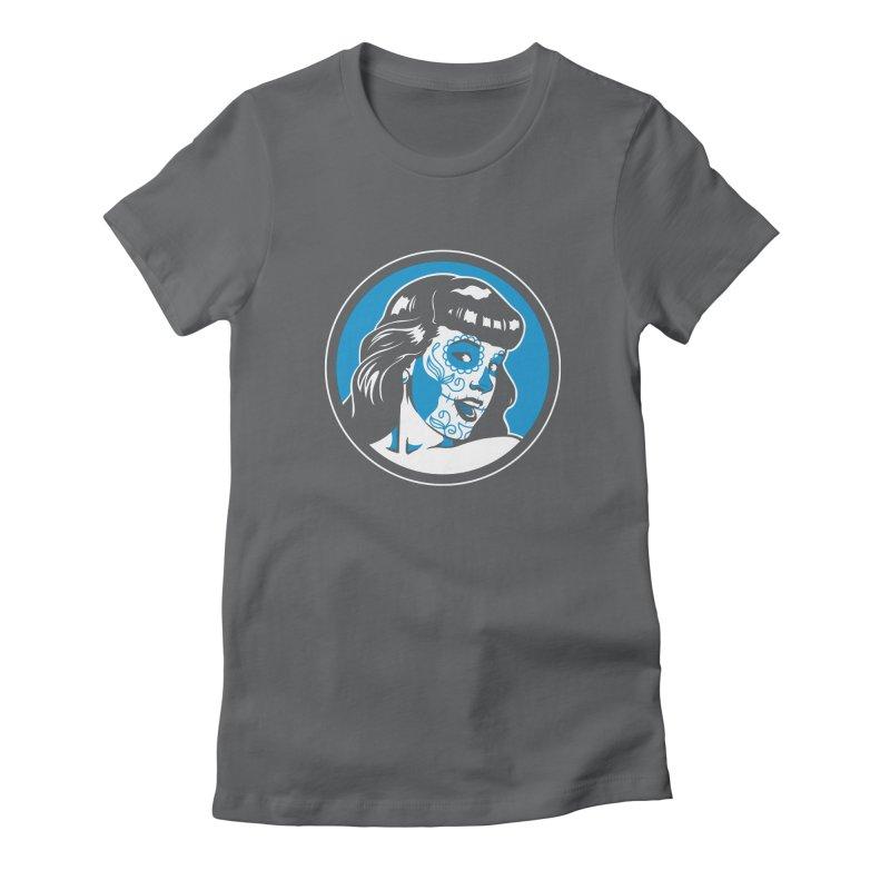 Bettie Sugar Skull Blue Women's Fitted T-Shirt by bennygraphix's Artist Shop