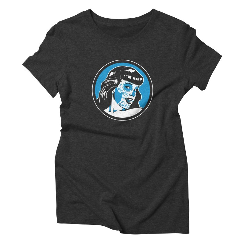 Bettie Sugar Skull Blue Women's Triblend T-Shirt by bennygraphix's Artist Shop