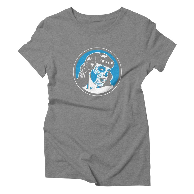 Bettie Sugar Skull Blue Women's Triblend T-Shirt by bennygraphix's Artist Shop