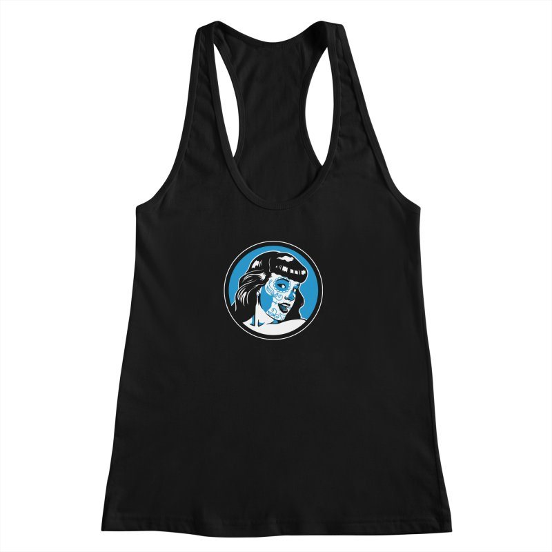 Bettie Sugar Skull Blue Women's Racerback Tank by bennygraphix's Artist Shop