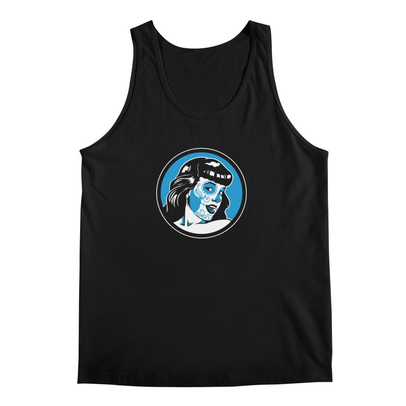 Bettie Sugar Skull Blue Men's Regular Tank by bennygraphix's Artist Shop
