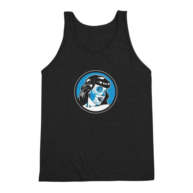 Bettie Sugar Skull Blue Men's Triblend Tank by bennygraphix's Artist Shop