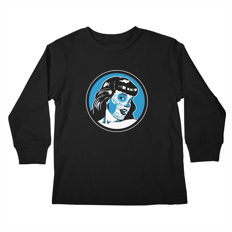 Bettie Sugar Skull Blue Kids Longsleeve T-Shirt by bennygraphix's Artist Shop