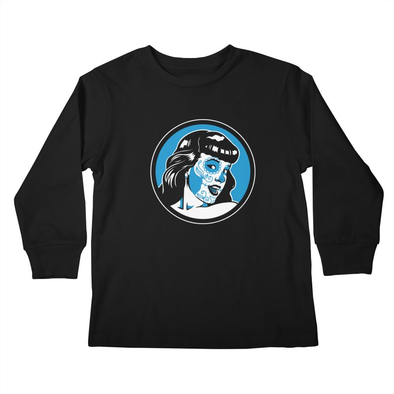 Bettie Sugar Skull Blue Kids Longsleeve T-Shirt by bennygraphix's Artist Shop