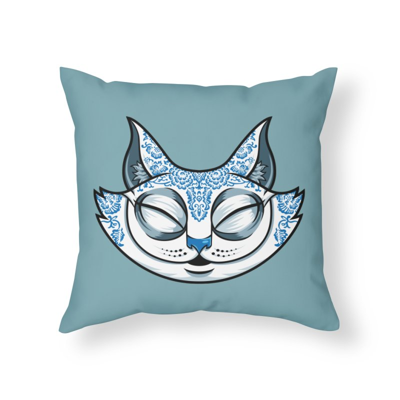 Cheshire Cat - Blue Home Throw Pillow by bennygraphix's Artist Shop