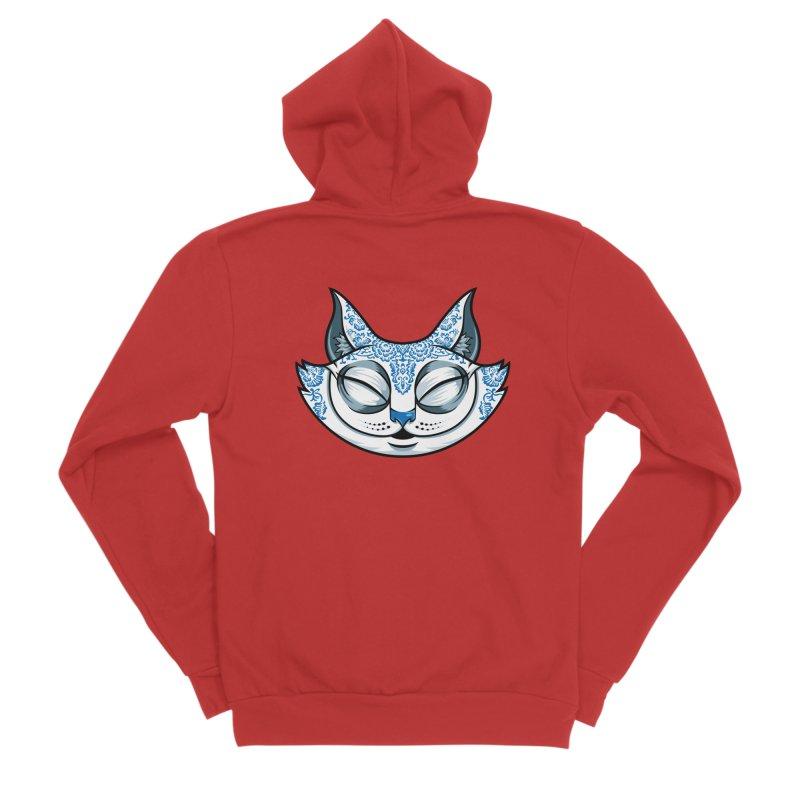 Cheshire Cat - Blue Men's Sponge Fleece Zip-Up Hoody by bennygraphix's Artist Shop