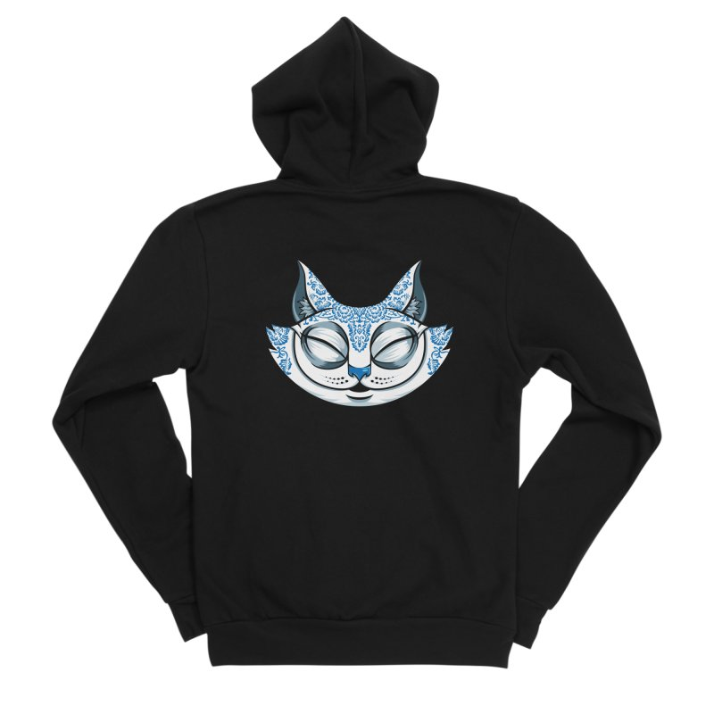 Cheshire Cat - Blue Men's Sponge Fleece Zip-Up Hoody by bennygraphix's Artist Shop