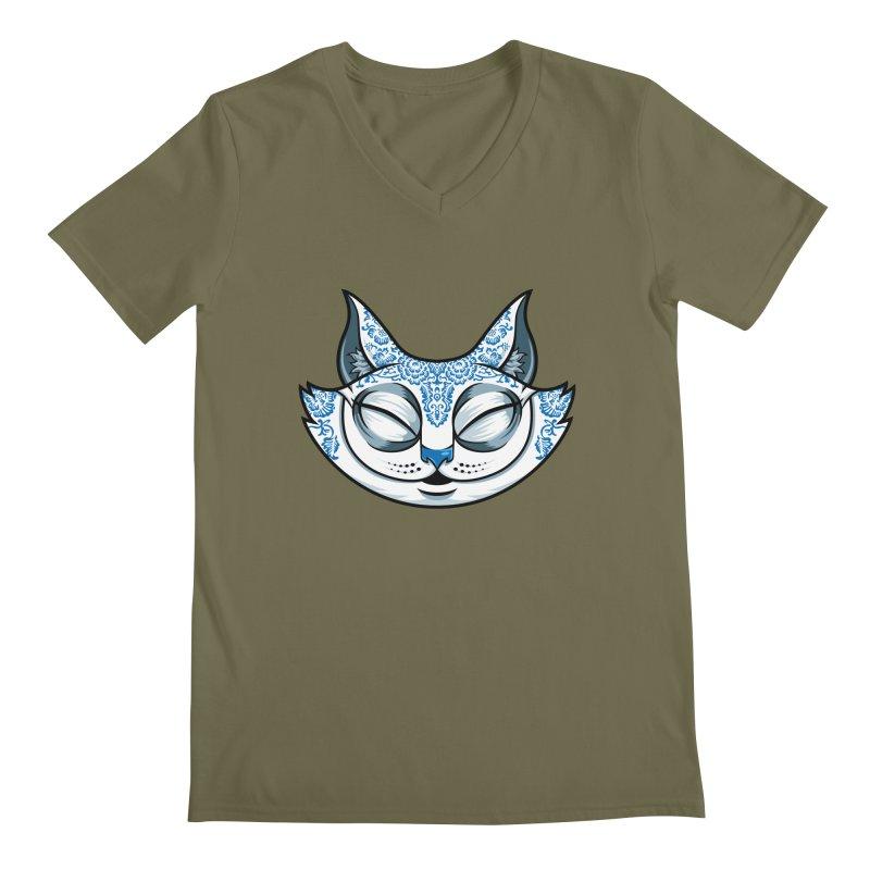 Cheshire Cat - Blue Men's Regular V-Neck by bennygraphix's Artist Shop