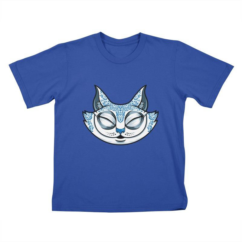 Cheshire Cat - Blue Kids T-Shirt by bennygraphix's Artist Shop