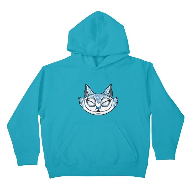 Cheshire Cat - Blue Kids Pullover Hoody by bennygraphix's Artist Shop