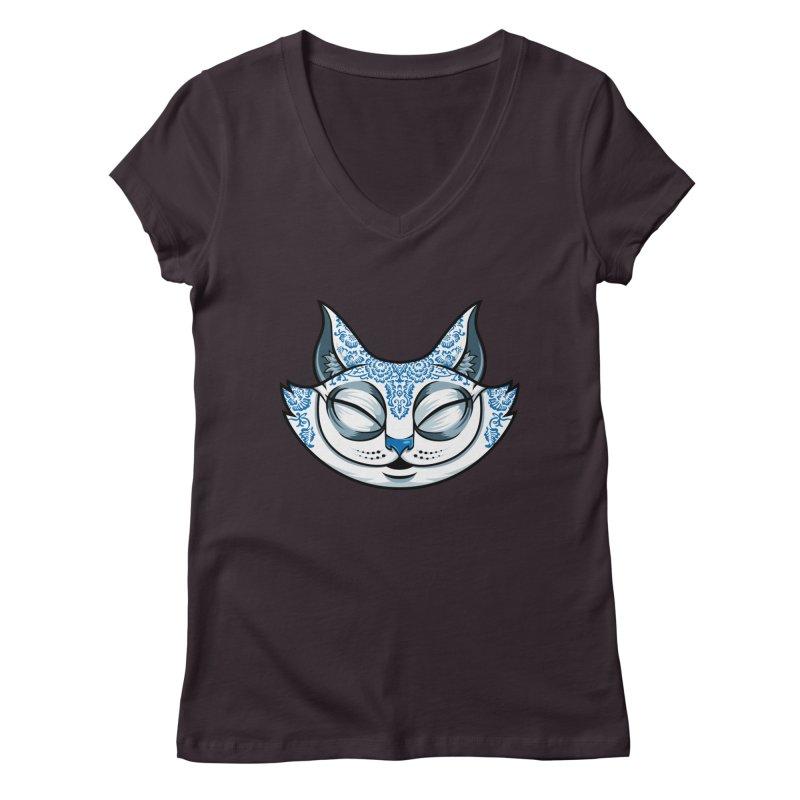 Cheshire Cat - Blue Women's Regular V-Neck by bennygraphix's Artist Shop