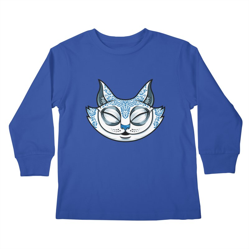 Cheshire Cat - Blue Kids Longsleeve T-Shirt by bennygraphix's Artist Shop