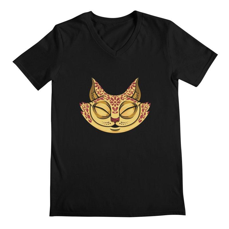 Cheshire Cat - Red Men's Regular V-Neck by bennygraphix's Artist Shop