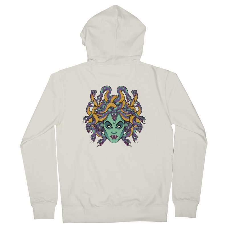 Medusa Men's French Terry Zip-Up Hoody by bennygraphix's Artist Shop
