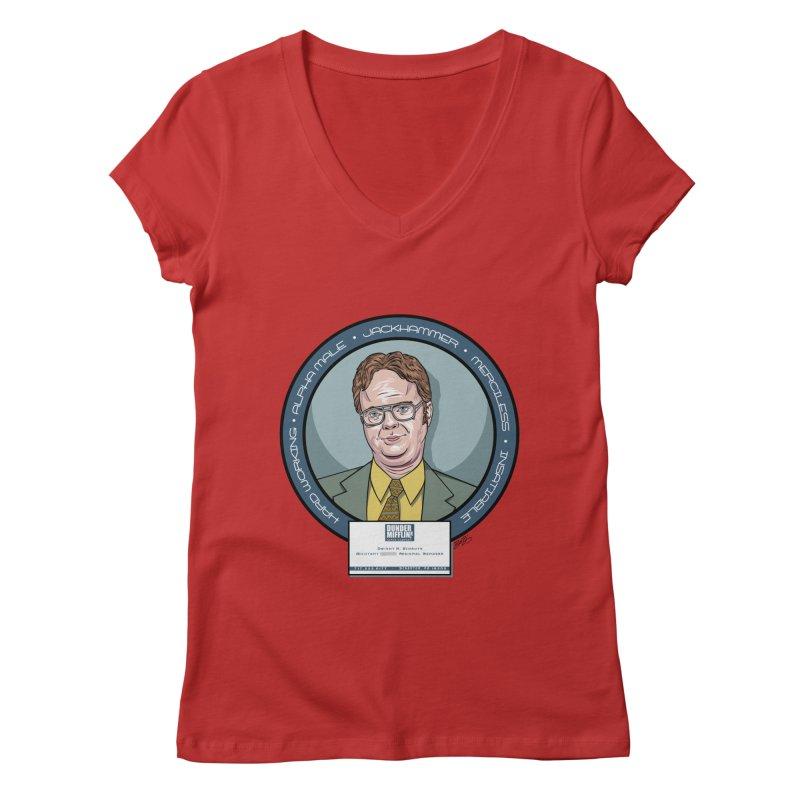 Dwight Women's Regular V-Neck by bennygraphix's Artist Shop