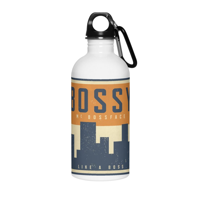 Bossy McBossface - City Boss Accessories Water Bottle by The Artist Shop of Ben Stevens