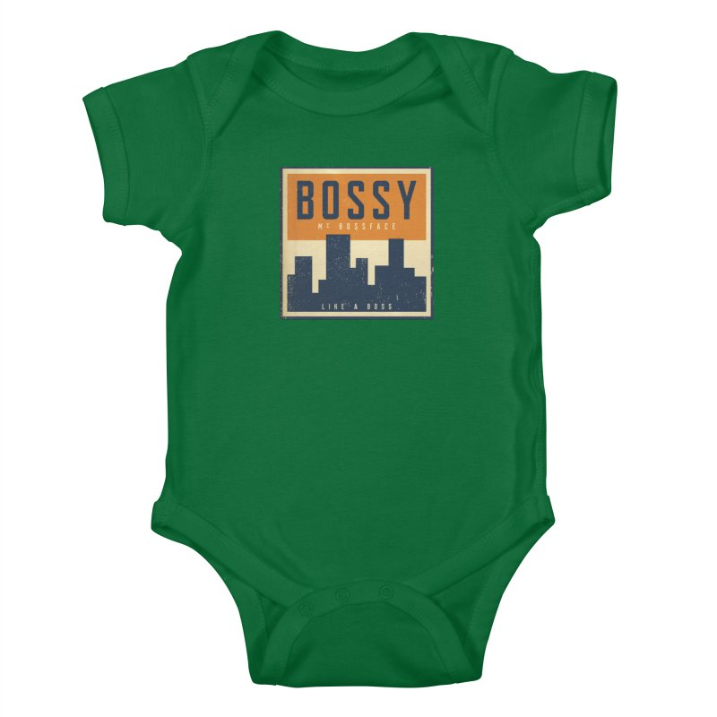 Bossy McBossface - City Boss Kids Baby Bodysuit by The Artist Shop of Ben Stevens
