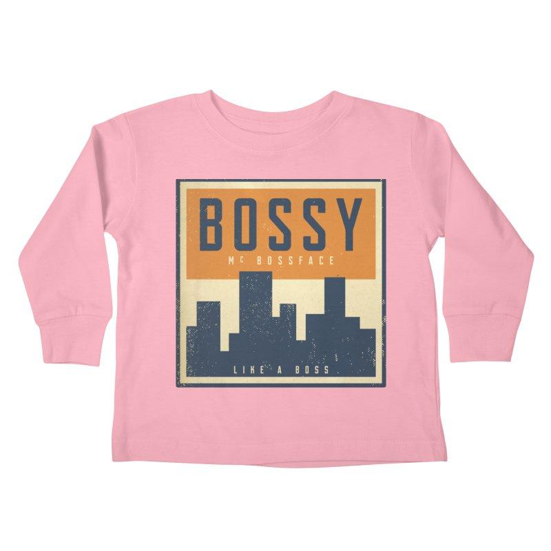 Bossy McBossface - City Boss Kids Toddler Longsleeve T-Shirt by The Artist Shop of Ben Stevens