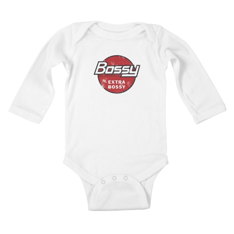 Bossy McBossface - Extra Bossy Kids Baby Longsleeve Bodysuit by The Artist Shop of Ben Stevens