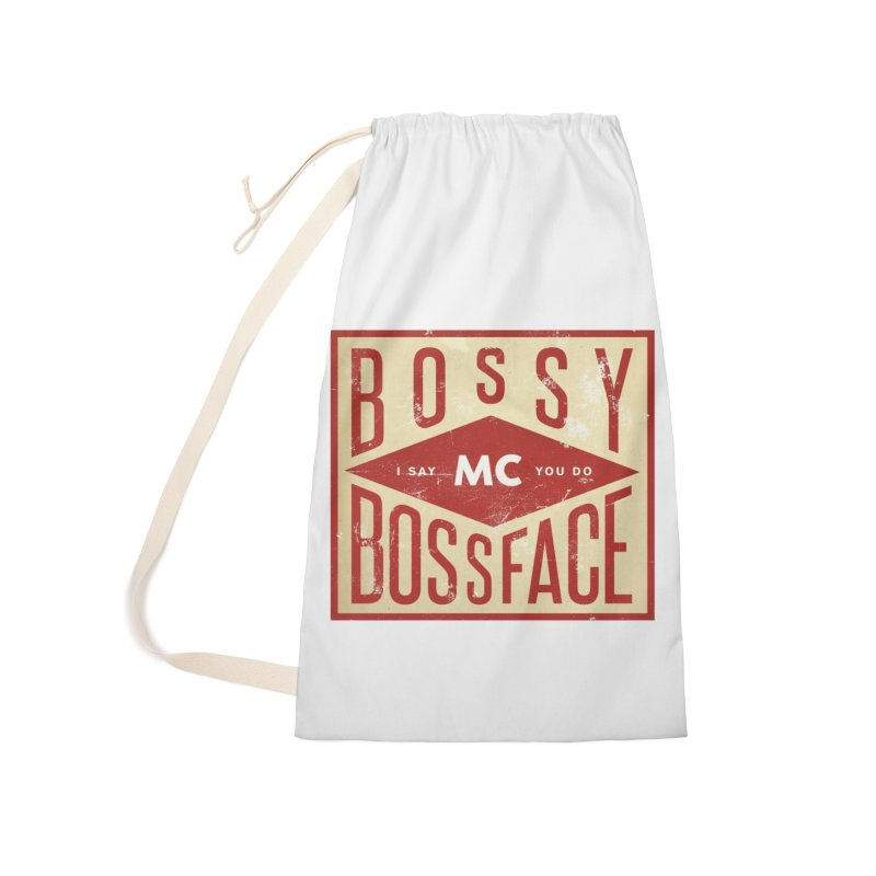 Bossy McBossface - Industrial Boss Accessories Laundry Bag Bag by The Artist Shop of Ben Stevens