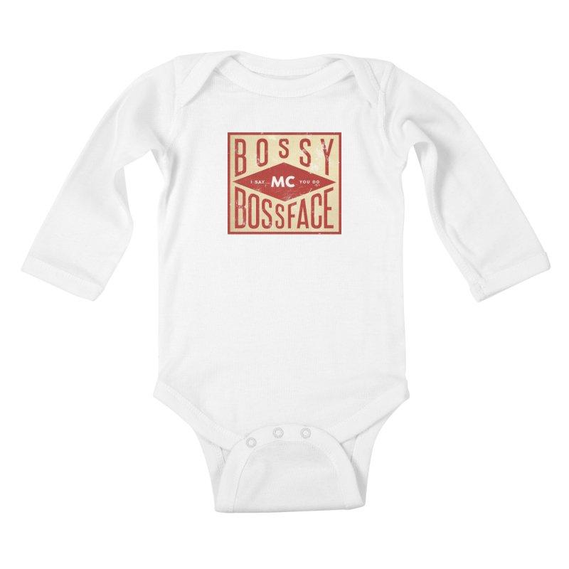 Bossy McBossface - Industrial Boss Kids Baby Longsleeve Bodysuit by The Artist Shop of Ben Stevens