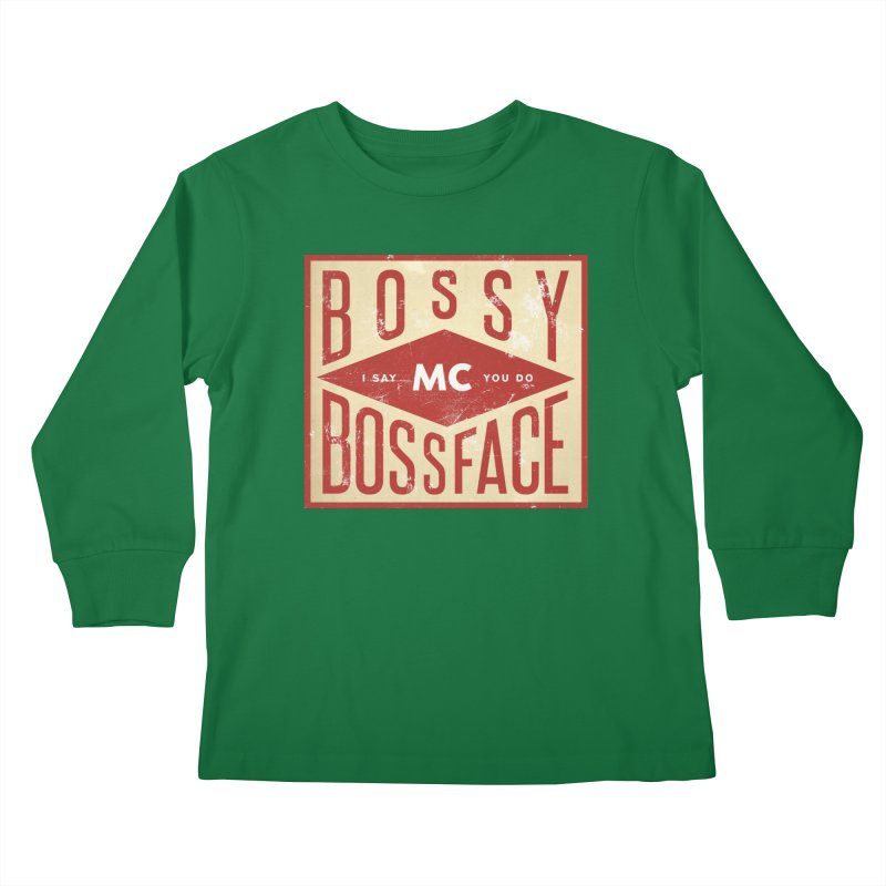 Bossy McBossface - Industrial Boss Kids Longsleeve T-Shirt by The Artist Shop of Ben Stevens