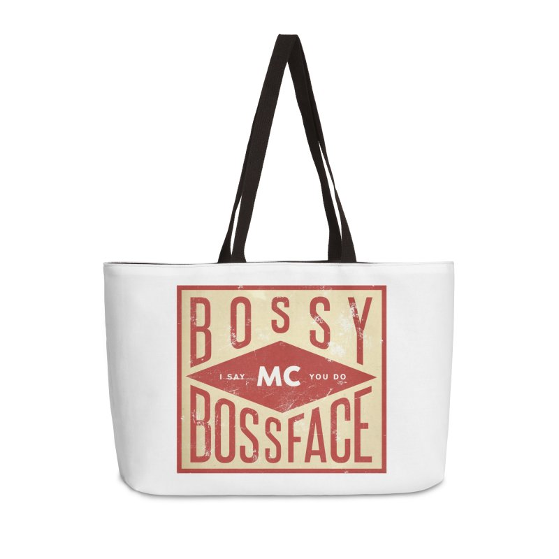 Bossy McBossface - Industrial Boss Accessories Weekender Bag Bag by The Artist Shop of Ben Stevens