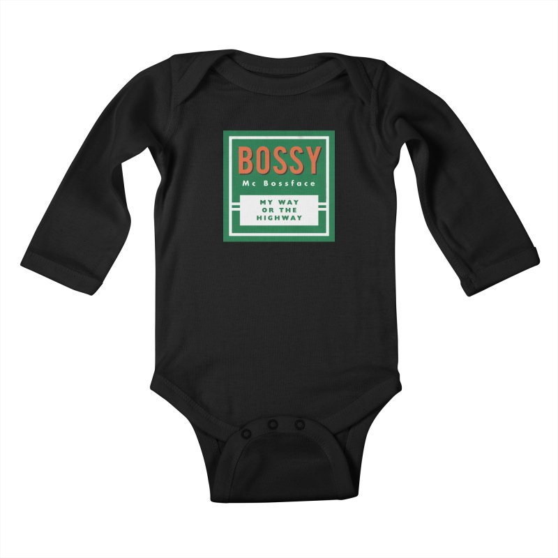 Bossy McBossface - Rural Boss Kids Baby Longsleeve Bodysuit by The Artist Shop of Ben Stevens