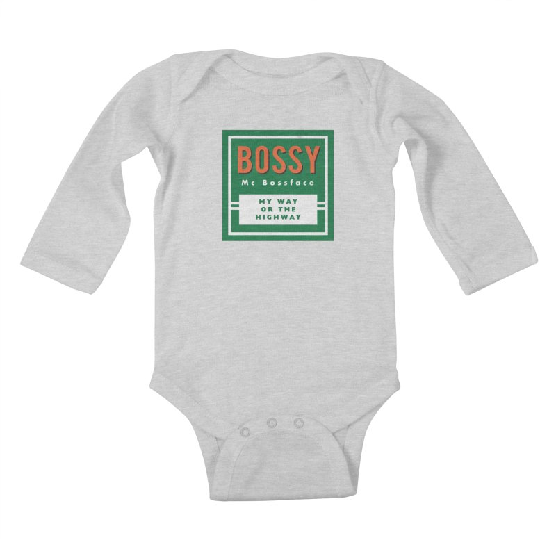 Bossy McBossface - Rural Boss Kids Baby Longsleeve Bodysuit by The Artist Shop of Ben Stevens