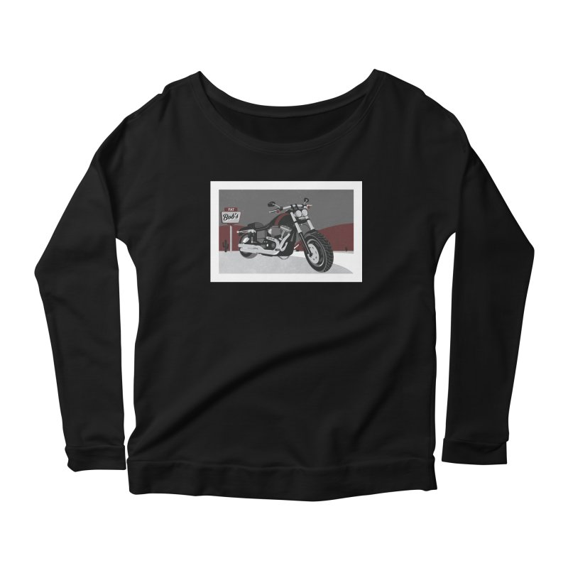 Stoppin' at Fat Bob's Women's Scoop Neck Longsleeve T-Shirt by The Artist Shop of Ben Stevens