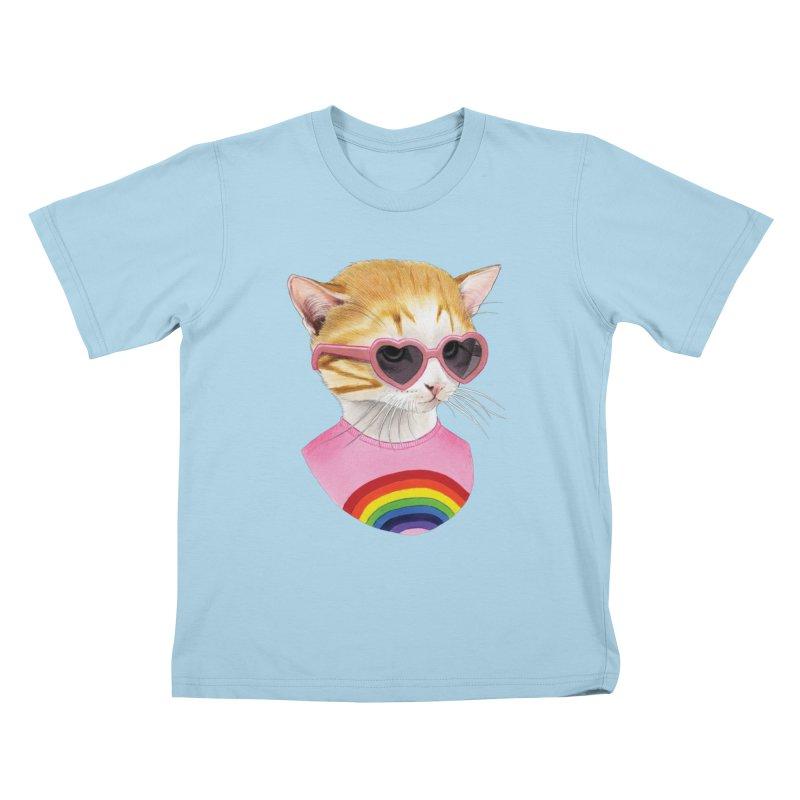 Rainbow Kitten in Kids T-Shirt Powder Blue by Berkley Illustration Apparel