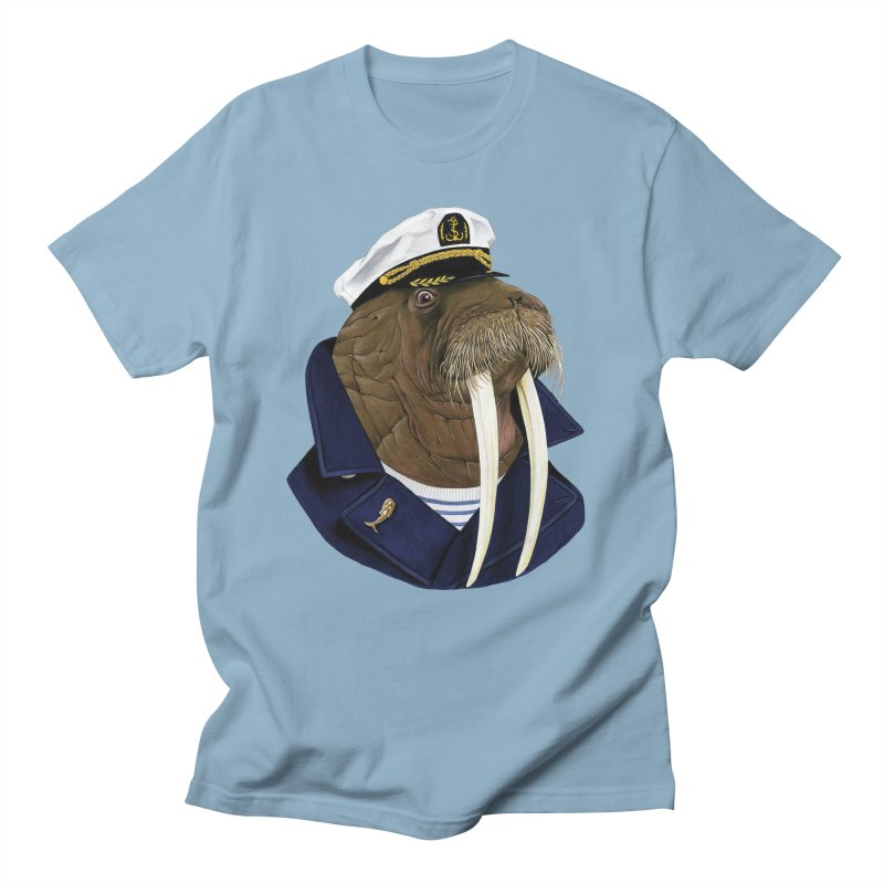 Walrus in Men's T-Shirt Light Blue by Berkley Illustration Apparel