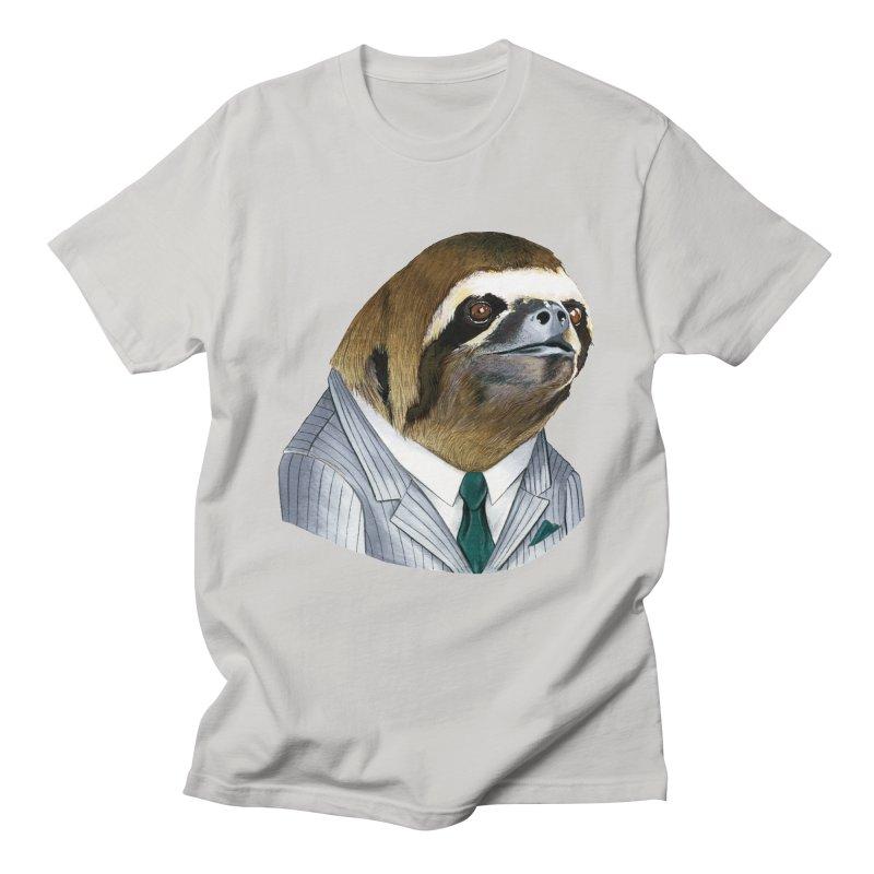 Sloth Gentleman in Men's Regular T-Shirt Stone by Berkley Illustration Apparel