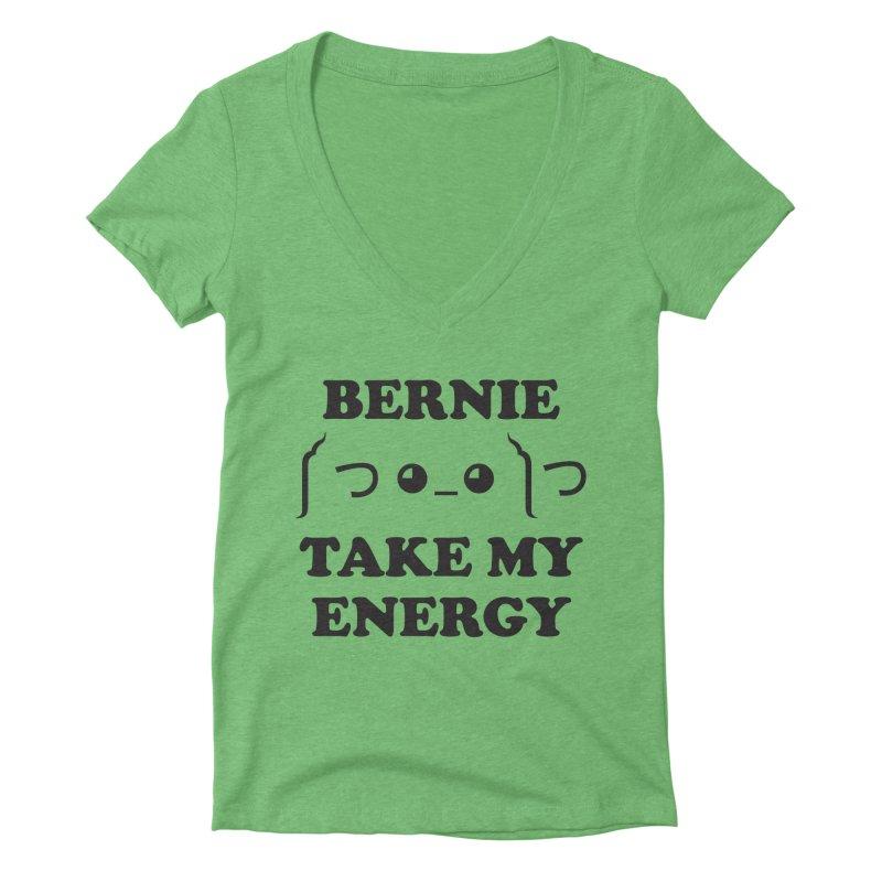 Bernie Take My Energy (Black) Women's Deep V-Neck V-Neck by Bernie Threads