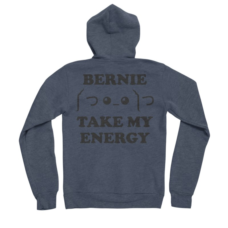 Bernie Take My Energy (Black) Men's Sponge Fleece Zip-Up Hoody by Bernie Threads