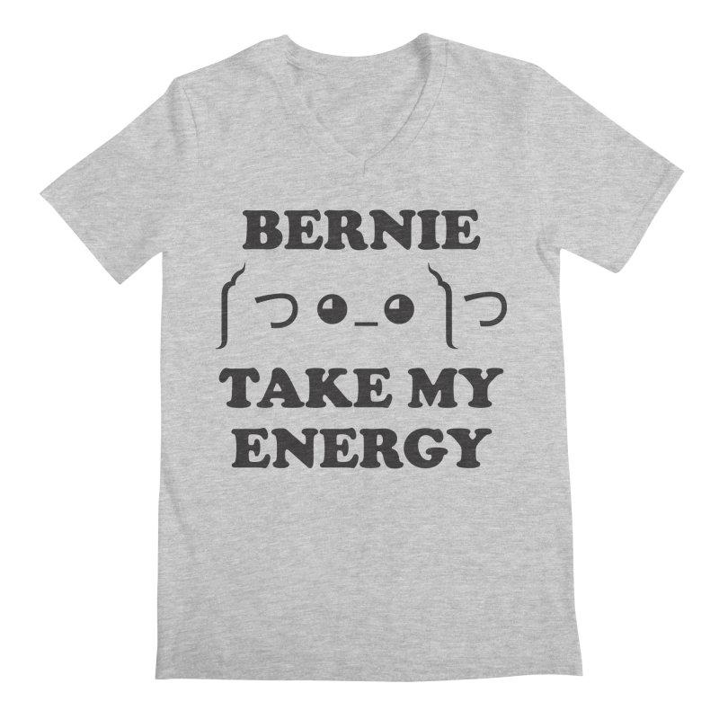 Bernie Take My Energy (Black) Men's Regular V-Neck by Bernie Threads
