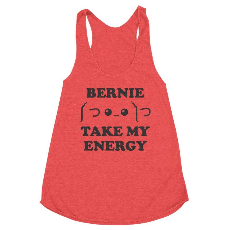 Bernie Take My Energy (Black) Women's Racerback Triblend Tank by Bernie Threads