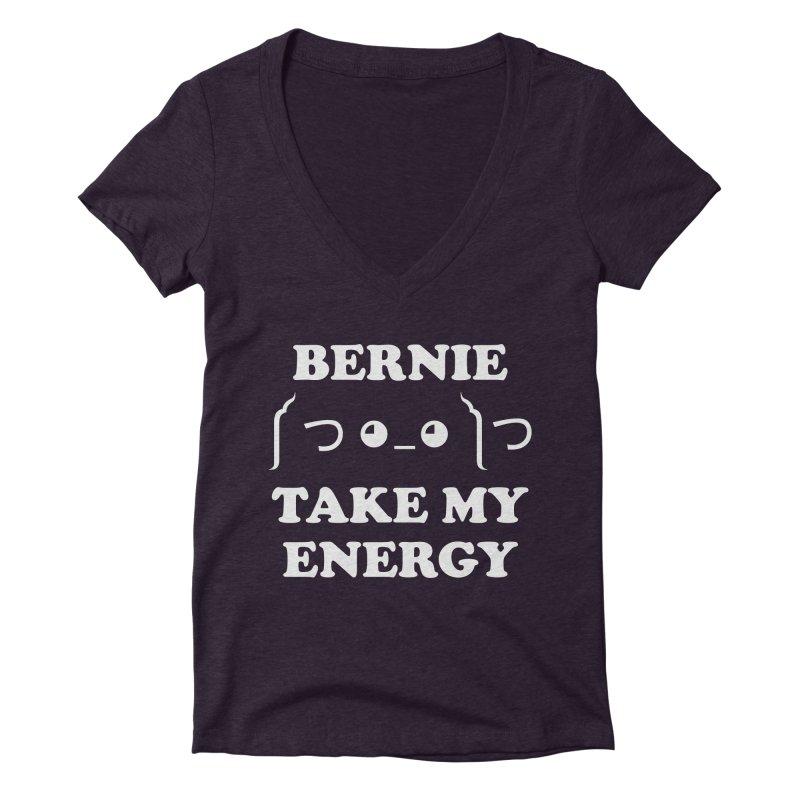 Bernie Take My Energy (White) Women's Deep V-Neck V-Neck by Bernie Threads