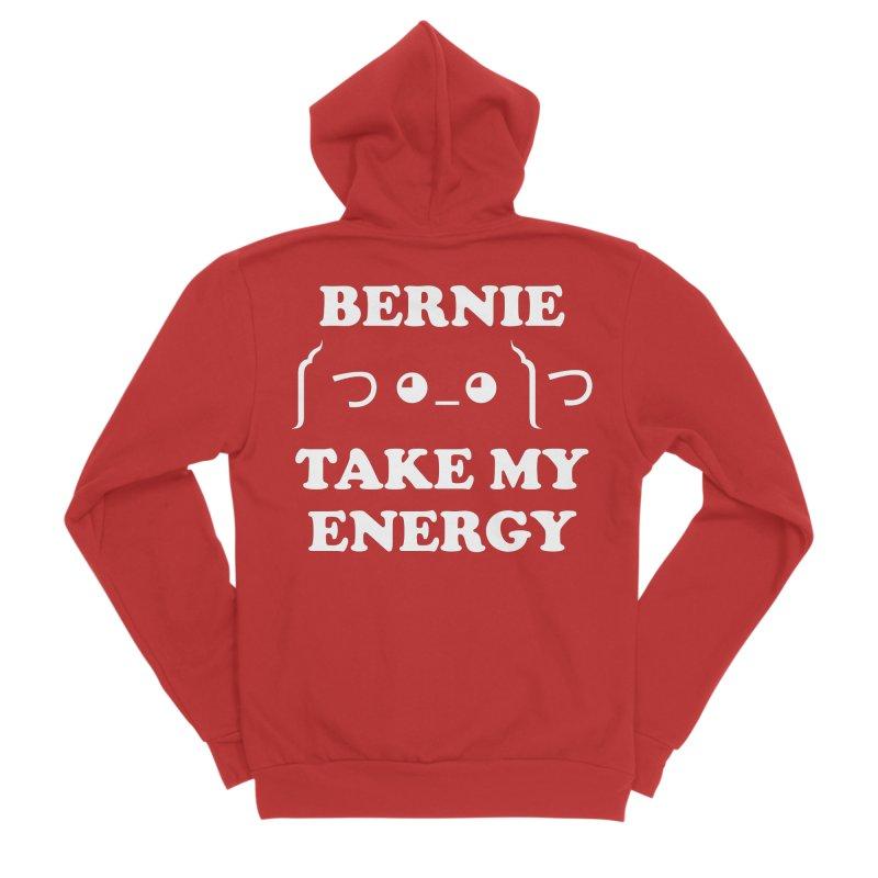 Bernie Take My Energy (White) Men's Sponge Fleece Zip-Up Hoody by Bernie Threads
