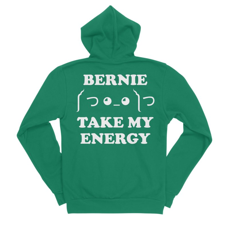 Bernie Take My Energy (White) Men's Sponge Fleece Zip-Up Hoody by Bernie Threads