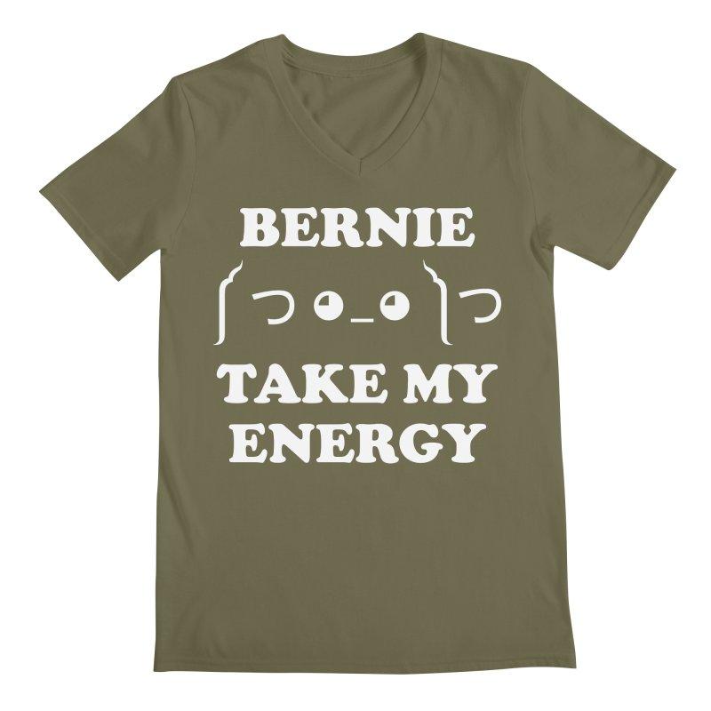 Bernie Take My Energy (White) Men's Regular V-Neck by Bernie Threads