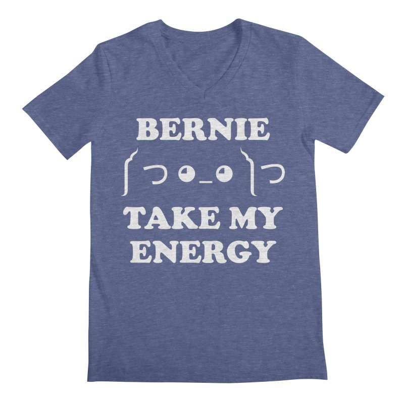 Bernie Take My Energy (White) Men's Regular V-Neck by Bernie Threads