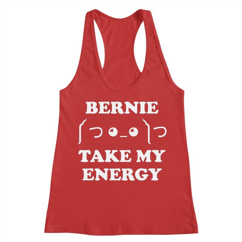 Bernie Take My Energy (White) Women's Racerback Tank by Bernie Threads