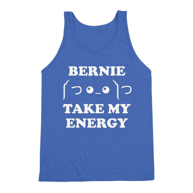Bernie Take My Energy (White) Men's Triblend Tank by Bernie Threads
